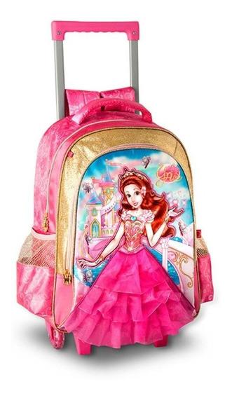 Mochila Escolar Infantil Princesas Com Rodinhas Yris