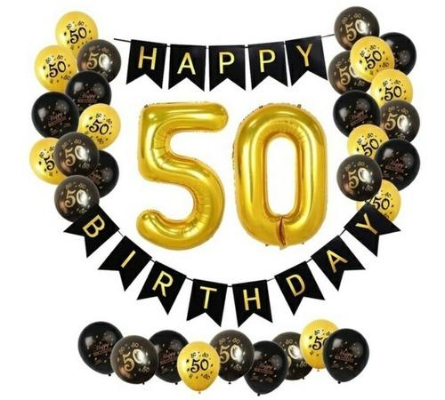 Kit Globos 50 Años Suministros Cumpleaños Fiesta Decoración