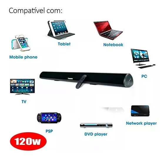 Caixa De Som Sound Bar Com 120w Smart Tv Pc Bluetooth Optico