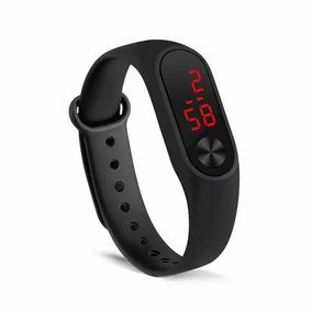 Relógio Digital Pulseira Led Preto Colorido Esporte Silicone