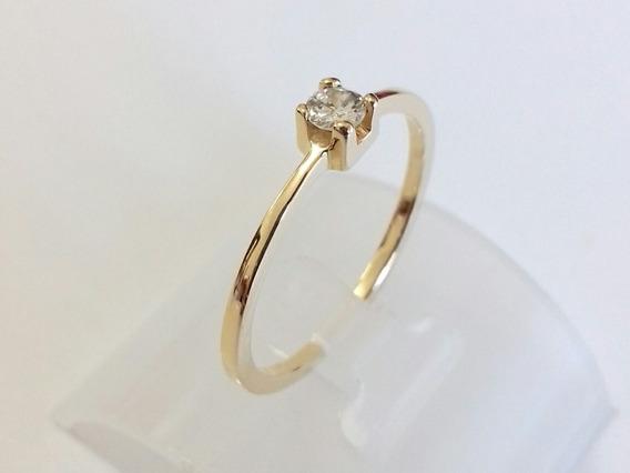 Anel De Noivado Em Ouro 18k Com Diamante De 10 Pontos