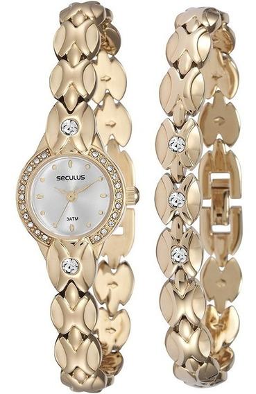 Relógio Feminino Pequeno Luxo Seculus Original Com Pulseira