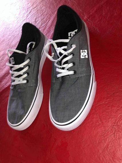Zapatillas Dc Gris Y Negra Un Solo Uso (como Nuevas)