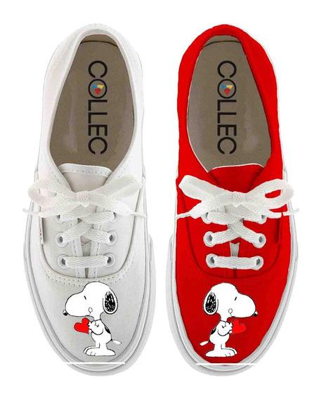 Zapatos Dama Classic Snoopy Corazon Pintados A Mano