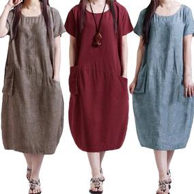 Moda Mulheres Casual Solto Vestido Cor Sólido Manga Curta