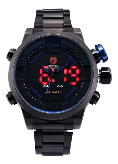 Relógio Masculino Shark Anadigi Sh-106 - Preto E Azul