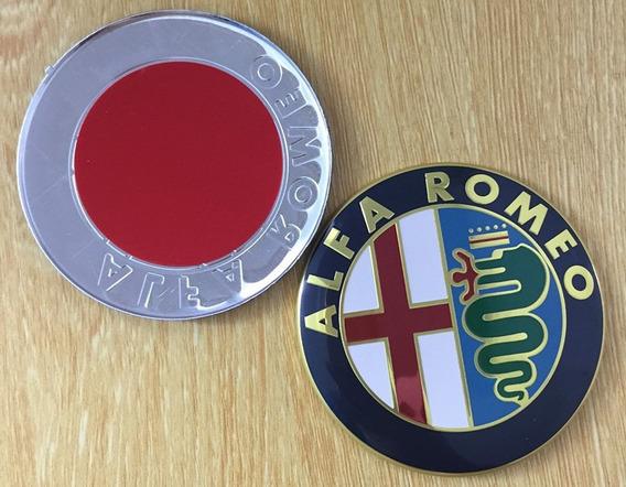 1 Emblema Adesivo Alfa Romeo 74mm Aluminio Capô Porta Mala