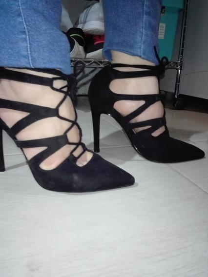 Zapato Stiletto Negro Con Tiras, Importados 36