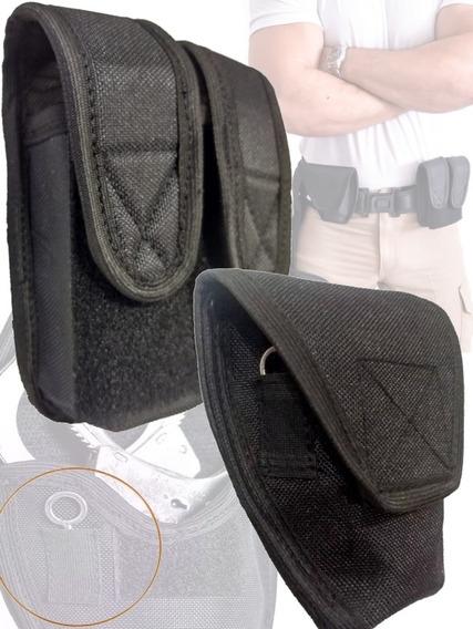 Kit Porta Algema + Porta Carregador Semi Rígido Em Nylon