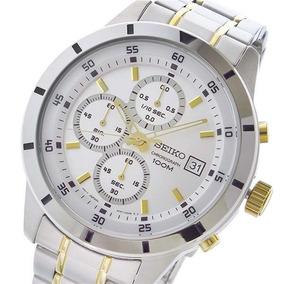 Seiko Sks563p1 Silver Dial Men Chronograph Two Tom Watch