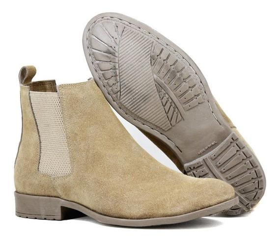 Bota Chelsea Boots Lançamento Sir.w 777 Areia Em Couro Le...