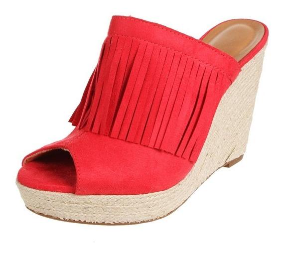 Zueco Sandalia Zapato Rojo Con Flecos Taco Chino