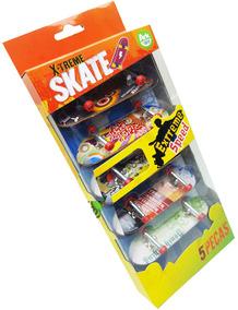 Kit Com 5 Skate De Dedo Fingerboard Sk8 Plástico