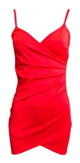 Vestido Cruzado Moda Fiestas Navidad Blanco Rojo Año Nuevo