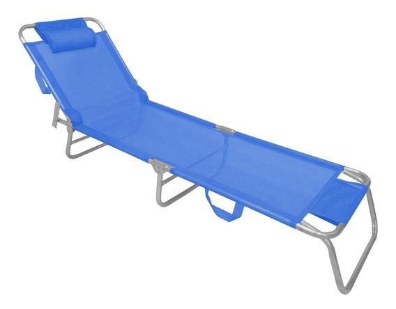 Cadeira Espreguiçadeira Com Alça Zaka Slim Alumínio Azul