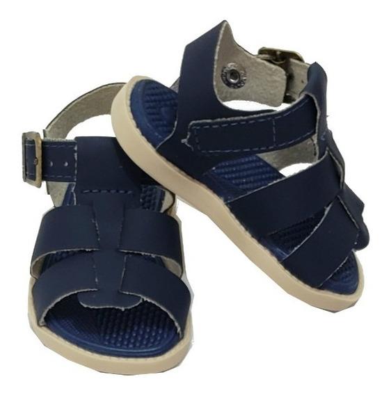 Sandália Infantil Couro Azul Marinho