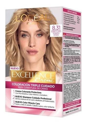 Tintura Loreal Excellence 8.31 Rubio Claro Dorado Ceniza