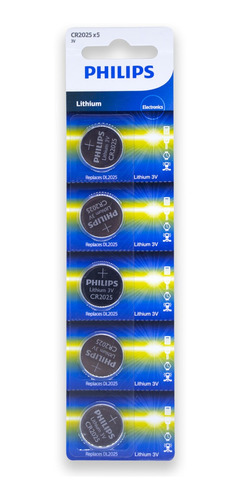 Imagem 1 de 5 de 30 Pilhas Philips Cr2025 3v Bateria Original - 06 Cartelas