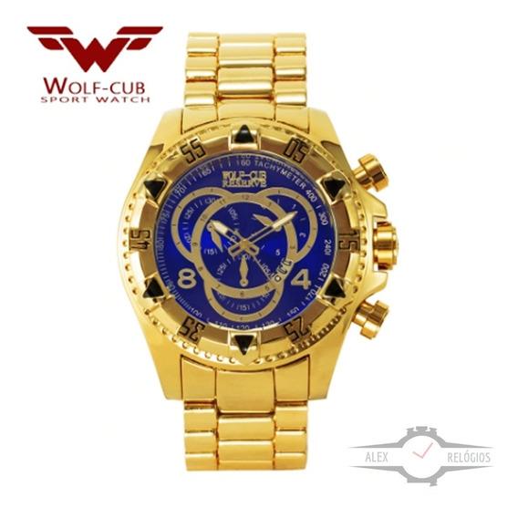 Relógio Masculino Bolt Dourado Azul Pesado Original