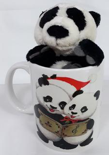 Urso Panda 15cm + Caneca Feliz Natal Presente Lembrancinha