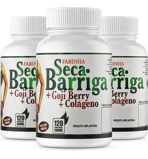 Seca Barriga + Goji Berry + Colágeno - 3 Potes 500mg 120cpr