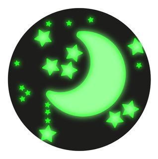 Kit 100 Estrellas 3cm Con Luna 15cm De Vinilo Fluorescentes Brillan Obscuridad Por 10 Horas - Envío Exprés Incluido