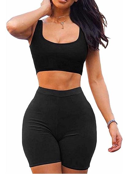 Conjunto Calza Ciclista Mas Top Musculosa Mujer Moda Dama