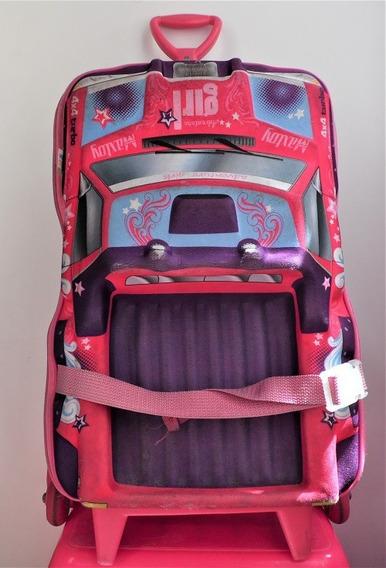 Mochila De Rodinha Infantil Modelo Carro Feminino Maxtoy