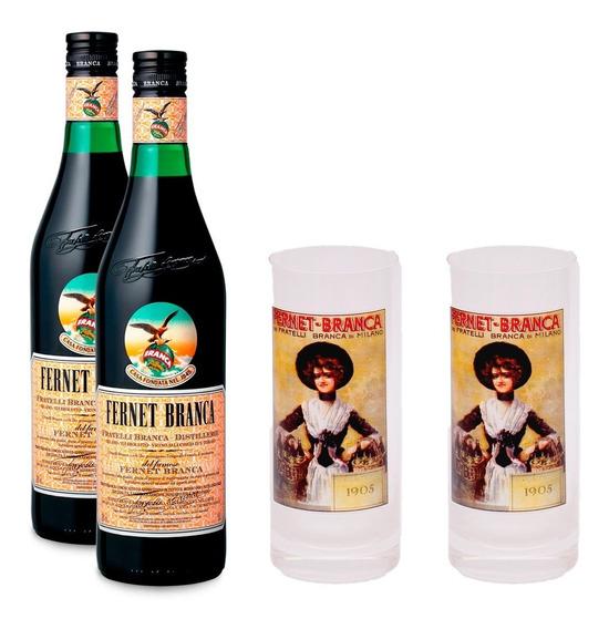2 Fernet Branca 750 Ml + 2 Vasos Retro De Regalo