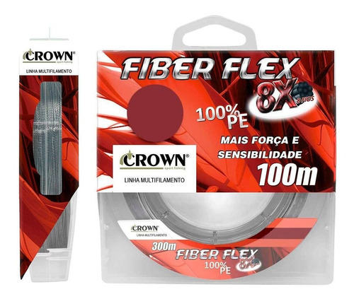 Imagem 1 de 3 de Linha Multifilamento Crown Fiber Flex 8x Opções 100 Metros