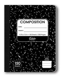 Ischolar Composition Book, 150 Sheets, Wide Ruled, 9.75 X