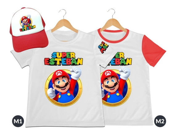 Camiseta Mas Gorra Niño Super Mario Bros Personalizada