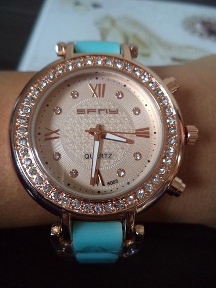 Relógio Feminino Dourado Com Strass - Sfny