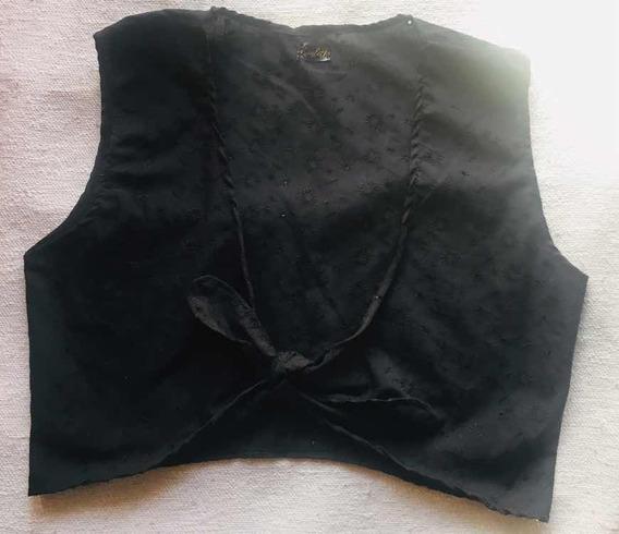 Musculosa Top Con Nudo Broderie Blanco Negro