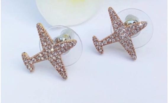 Brincos - Avião Cristal (dourado)