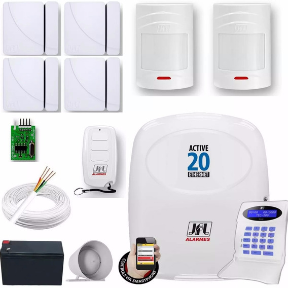 Kit Alarme Monitorado Active 20 Ethernet Com Sensores Jfl