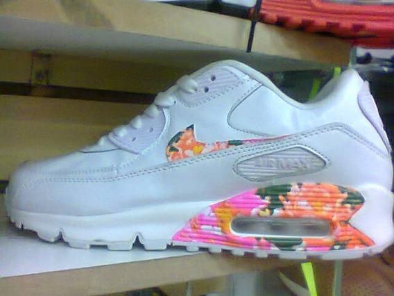 Tenis Nike Air Max 90 Branco Floral Nº42 Original Na Caixa