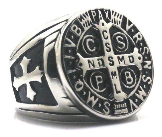 Anel Sao Bento Catolico Cruz Templario Prata De Aço Inox 316