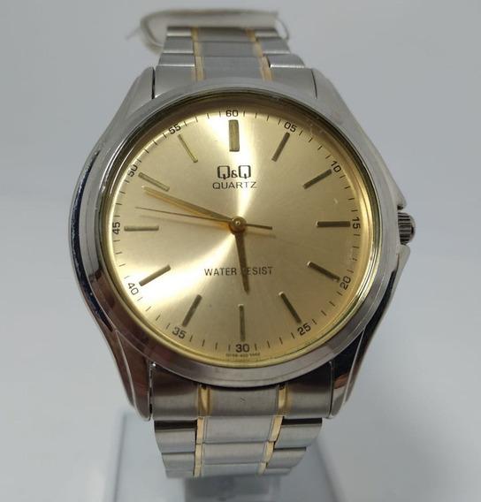 Relógio Q&q By Citizen Prata Fundo Dourado Q158-400y