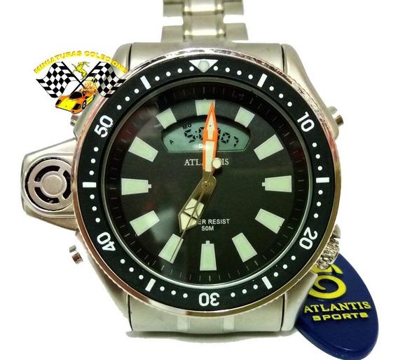 Relógio Masc Atlantis A3220 Aqualand Jp2000 Fundo Preto Aço