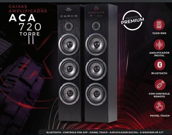 Caixa Amplificada Amvox Aca720 Torre Display Controle Remoto