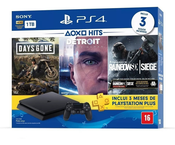 Console Playstation 4 Slim 1tb Hits Bundle + 3 Jogos - Ps4