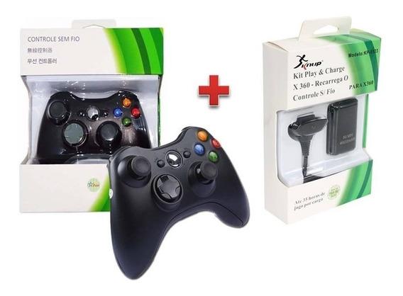 Kit Controle Xbox 360 Sem Fio Preto Bateria Recarregável
