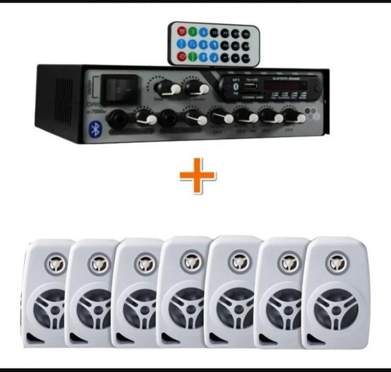 Kit Som Ambiente 500 Watts Bluetooth +12 Caixasparede Branco