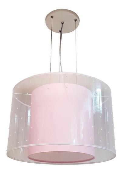 Luminária Pendente 40x30 Com Tule
