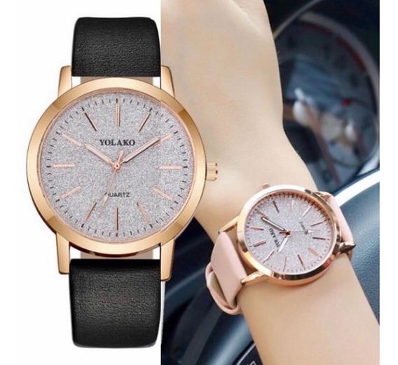 Relógio Feminino Quartz Preto De Couro