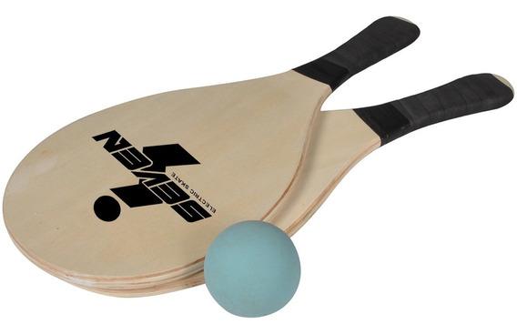 Kit Jogo De Frescobol, Raquetinha, Tênis De Praia. Seven.