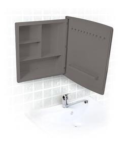 Armário Preto Com Espelho Para Banheiro Dual