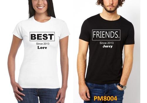 Imagen 1 de 1 de Par De Playeras Best Friends Amigos Personalizada Nombre