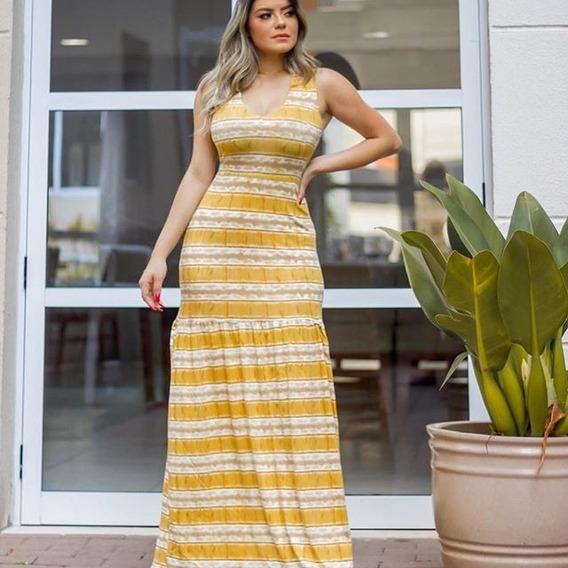 Vestido Longo Feminino Estampado Vestido Regata Tie Dye